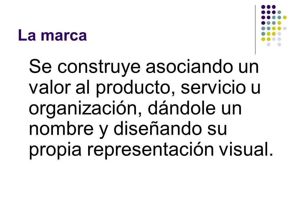 La marca Se construye asociando un valor al producto, servicio u organización, dándole un nombre y diseñando su propia representación visual.
