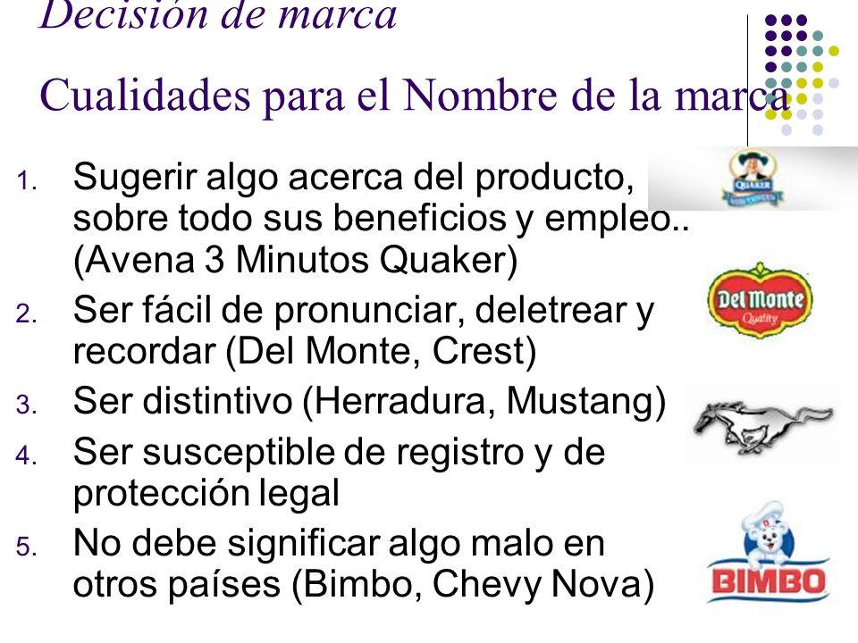 Decisión de marca Cualidades para el Nombre de la marca 1. Sugerir algo acerca del producto, sobre todo sus beneficios y empleo.. (Avena 3 Minutos Qua