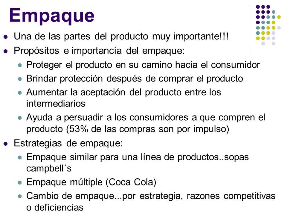 Empaque Una de las partes del producto muy importante!!! Propósitos e importancia del empaque: Proteger el producto en su camino hacia el consumidor B