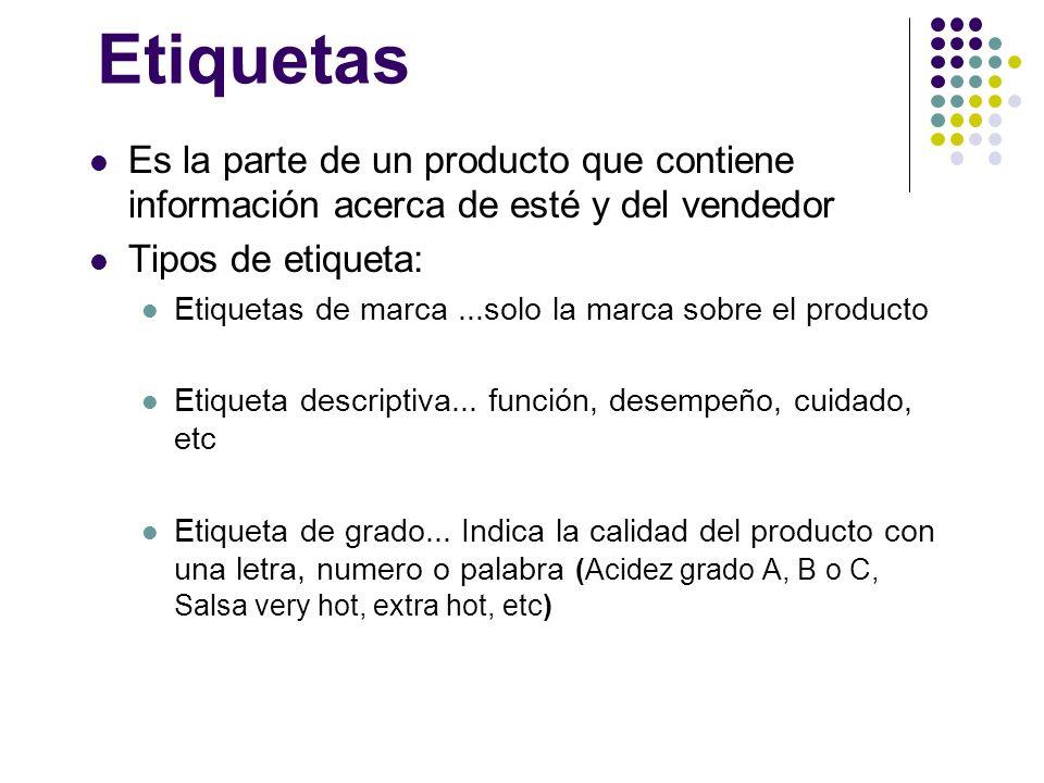 Etiquetas Es la parte de un producto que contiene información acerca de esté y del vendedor Tipos de etiqueta: Etiquetas de marca...solo la marca sobr