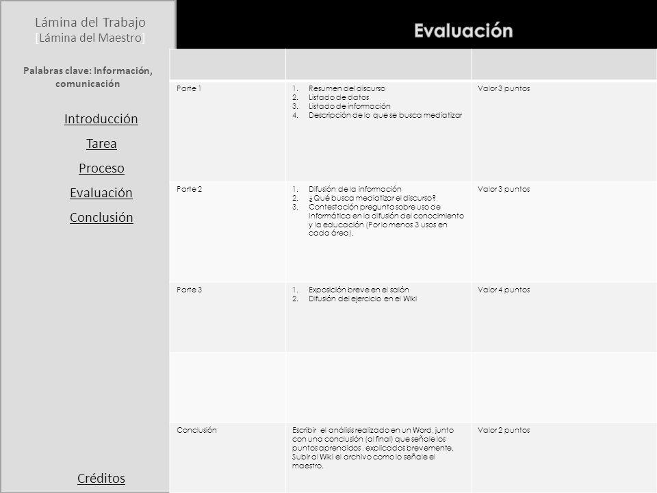Student Page Title Introduction Task Process Evaluation Conclusion Credits [Teacher Page]Teacher Page Lámina del Trabajo [Lámina del Maestro] Introducción Tarea Proceso Evaluación Conclusión Créditos Al terminar de hacer este Webquest el estudiante identificará qué es un dato y qué es información y los diferenciará de la comunicación.