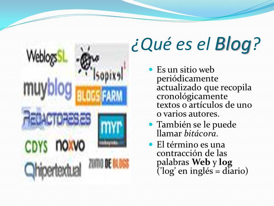 Blog ¿Qué es el Blog ? Es un sitio web periódicamente actualizado que recopila cronológicamente textos o artículos de uno o varios autores. También se