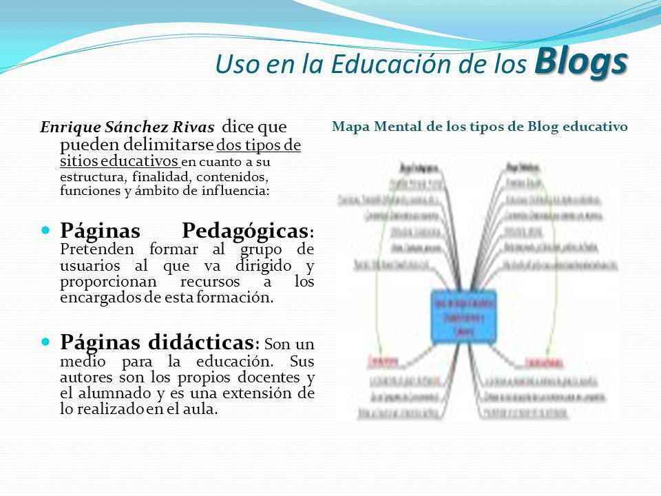 Blogs Uso en la Educación de los Blogs Enrique Sánchez Rivas dice que pueden delimitarse dos tipos de sitios educativos en cuanto a su estructura, fin