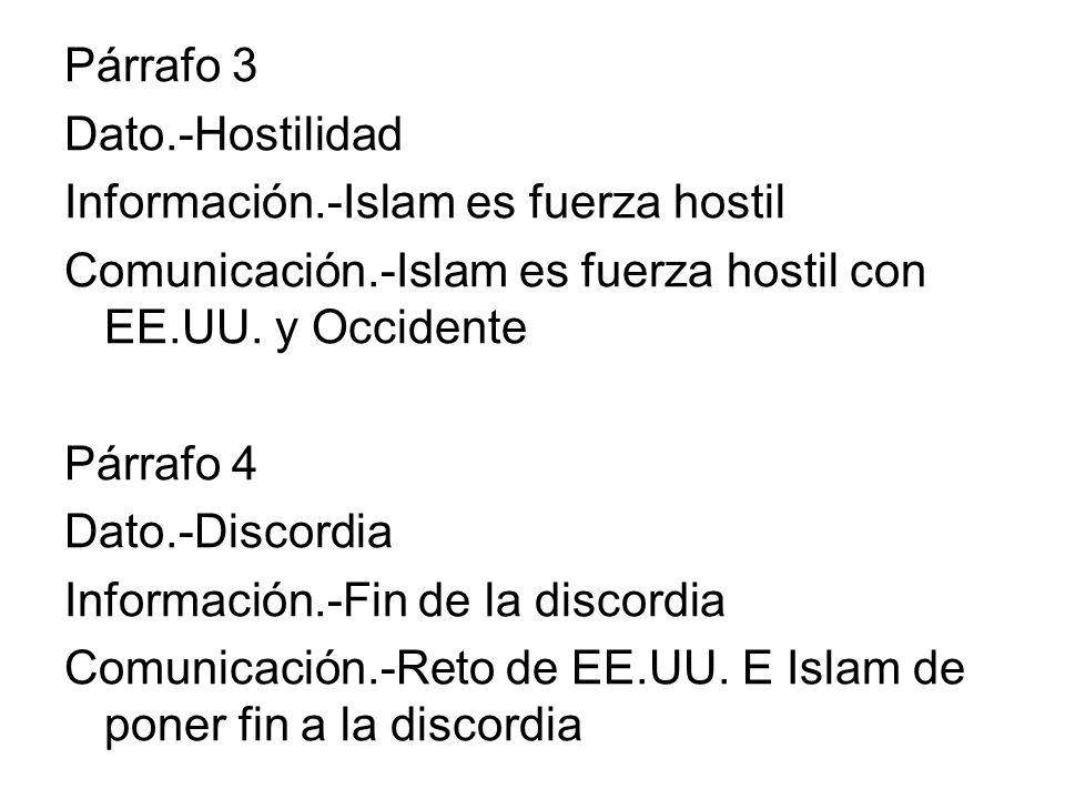 Párrafo 3 Dato.-Hostilidad Información.-Islam es fuerza hostil Comunicación.-Islam es fuerza hostil con EE.UU. y Occidente Párrafo 4 Dato.-Discordia I