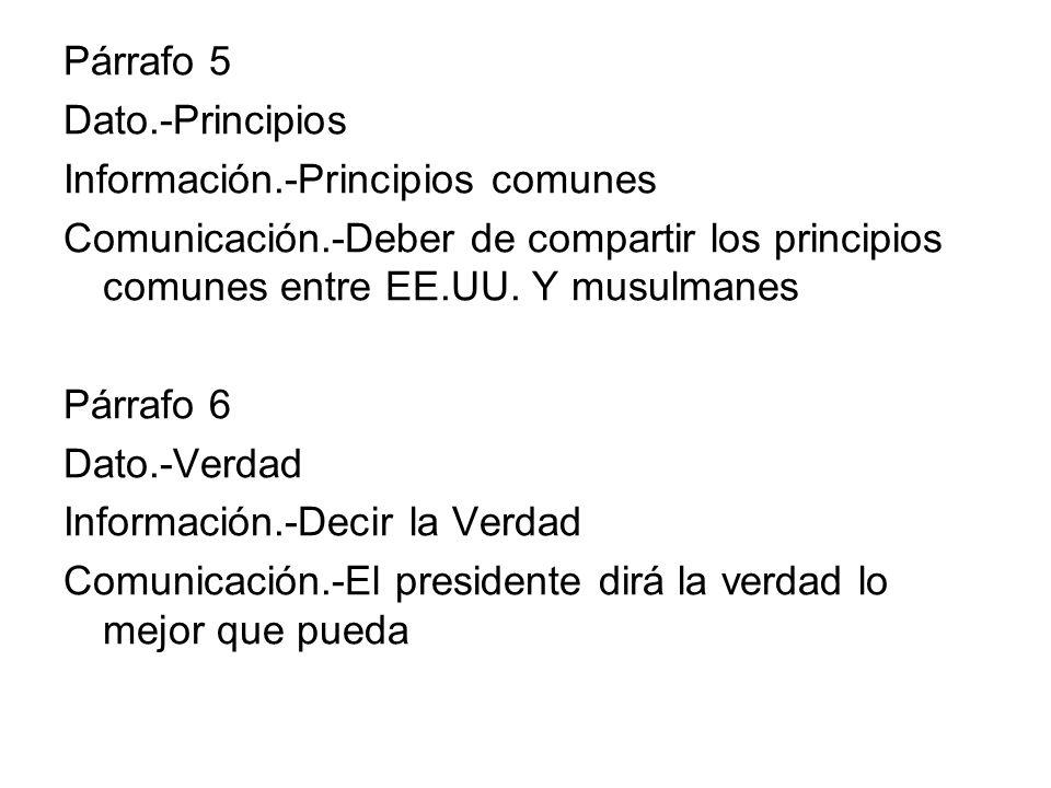 Párrafo 5 Dato.-Principios Información.-Principios comunes Comunicación.-Deber de compartir los principios comunes entre EE.UU. Y musulmanes Párrafo 6