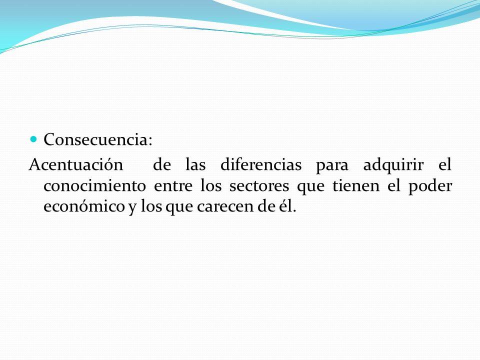 Consecuencia: Acentuación de las diferencias para adquirir el conocimiento entre los sectores que tienen el poder económico y los que carecen de él.