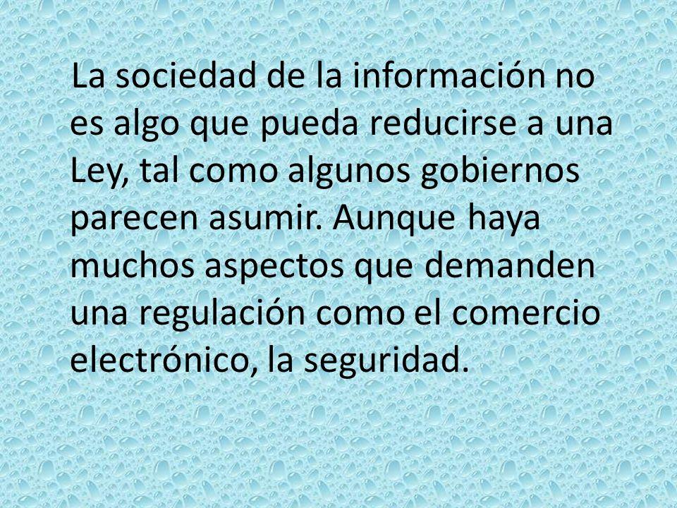 La sociedad de la información no es algo que pueda reducirse a una Ley, tal como algunos gobiernos parecen asumir.