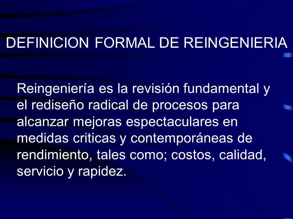 Reingeniería es la revisión fundamental y el rediseño radical de procesos para alcanzar mejoras espectaculares en medidas criticas y contemporáneas de