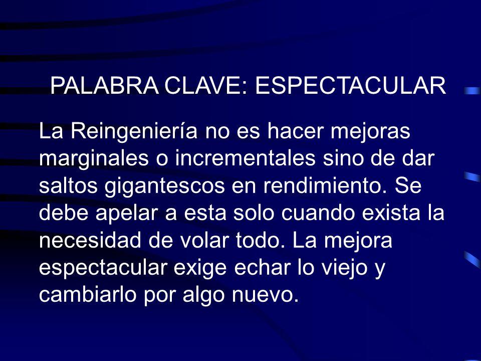 PALABRA CLAVE: ESPECTACULAR La Reingeniería no es hacer mejoras marginales o incrementales sino de dar saltos gigantescos en rendimiento. Se debe apel