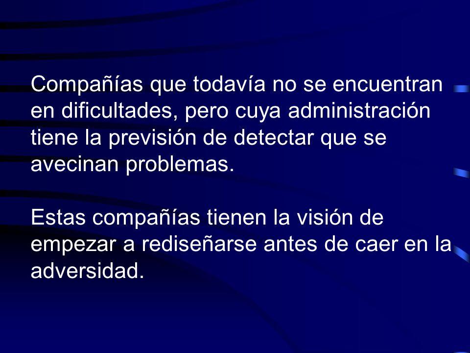 Compañías que todavía no se encuentran en dificultades, pero cuya administración tiene la previsión de detectar que se avecinan problemas. Estas compa