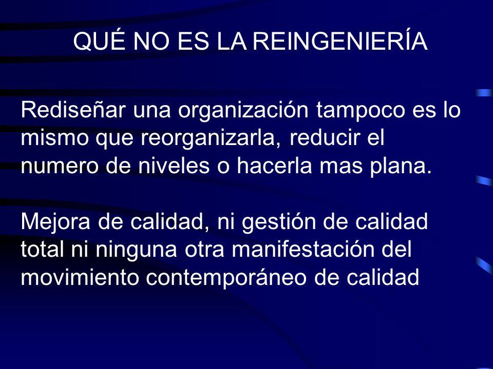 Rediseñar una organización tampoco es lo mismo que reorganizarla, reducir el numero de niveles o hacerla mas plana. Mejora de calidad, ni gestión de c