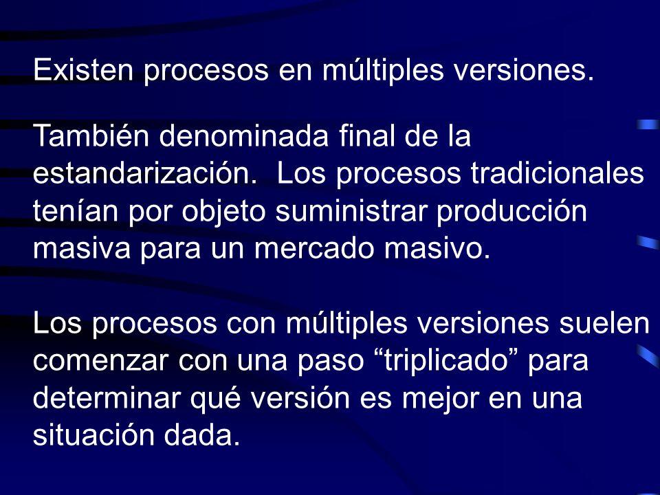 Existen procesos en múltiples versiones. También denominada final de la estandarización. Los procesos tradicionales tenían por objeto suministrar prod