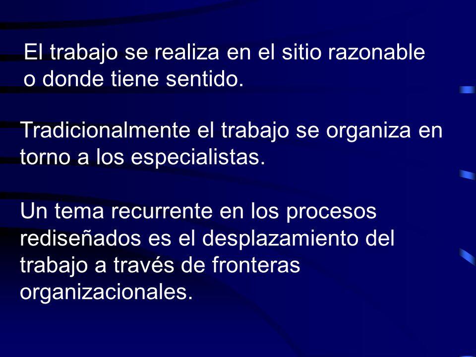 El trabajo se realiza en el sitio razonable o donde tiene sentido. Tradicionalmente el trabajo se organiza en torno a los especialistas. Un tema recur