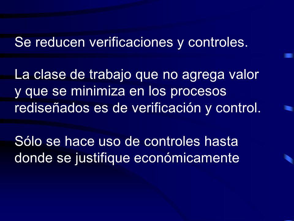 Se reducen verificaciones y controles. La clase de trabajo que no agrega valor y que se minimiza en los procesos rediseñados es de verificación y cont