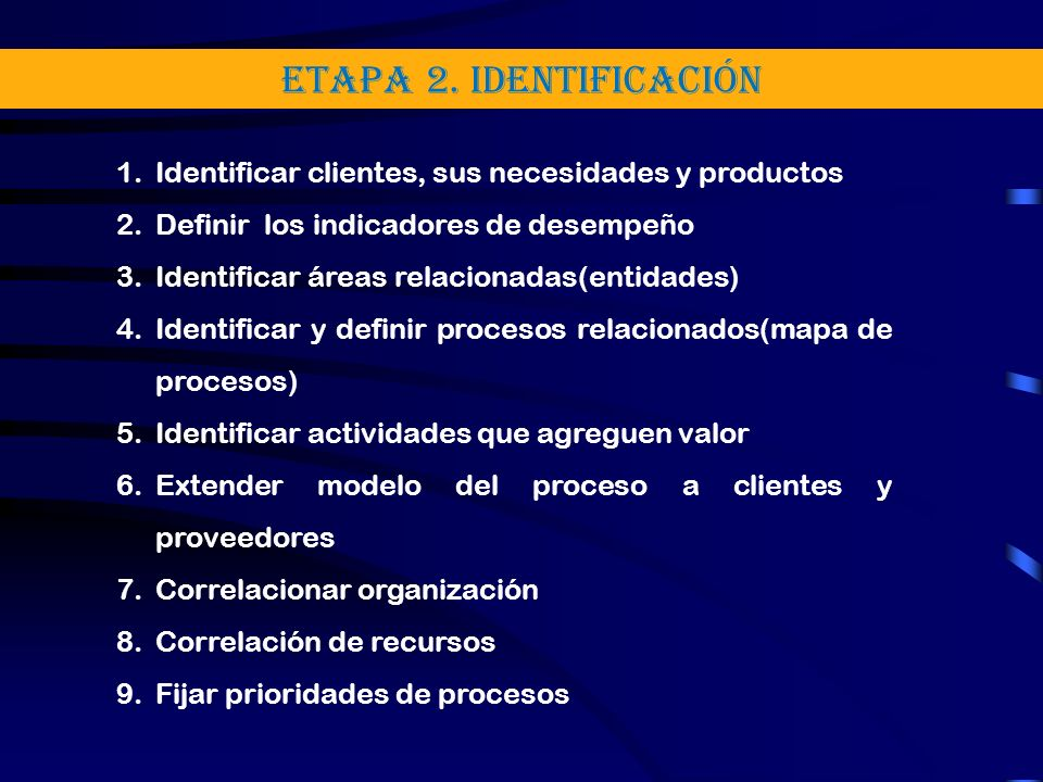 ETAPA 2. Identificación 1.Identificar clientes, sus necesidades y productos 2.Definir los indicadores de desempeño 3.Identificar áreas relacionadas(en