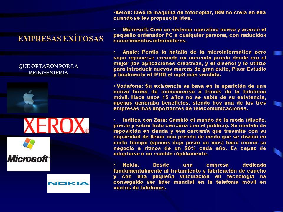 EMPRESAS EXÍTOSAS QUE OPTARON POR LA REINGENIERÍA Xerox: Creó la máquina de fotocopiar, IBM no creía en ella cuando se les propuso la idea. Microsoft: