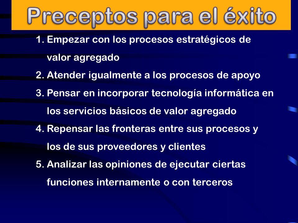 1.Empezar con los procesos estratégicos de valor agregado 2.Atender igualmente a los procesos de apoyo 3.Pensar en incorporar tecnología informática e