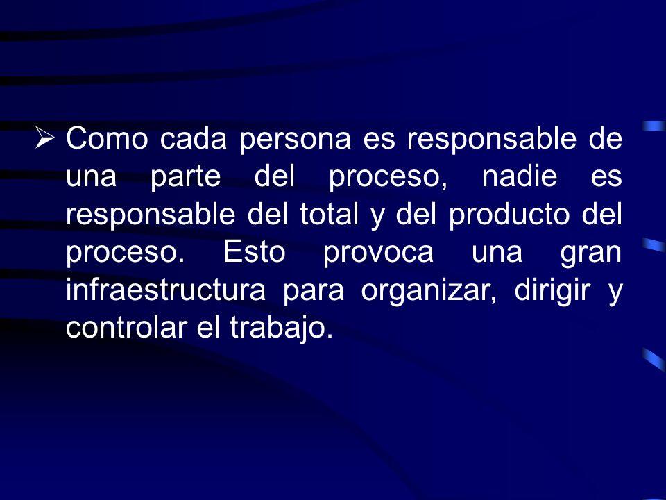 Como cada persona es responsable de una parte del proceso, nadie es responsable del total y del producto del proceso. Esto provoca una gran infraestru