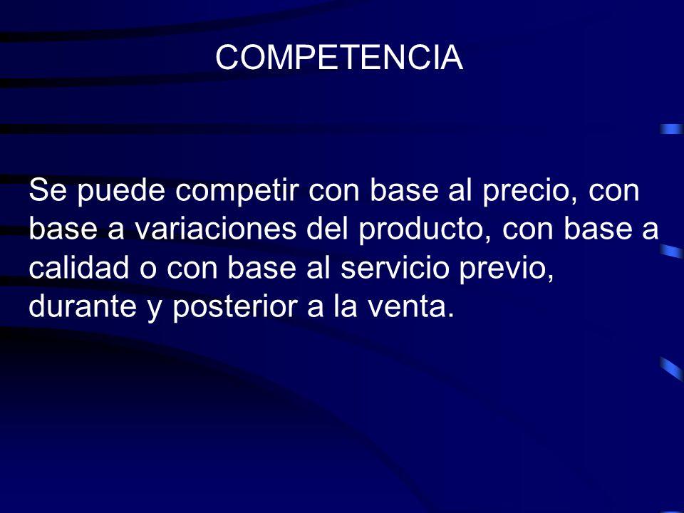 Se puede competir con base al precio, con base a variaciones del producto, con base a calidad o con base al servicio previo, durante y posterior a la