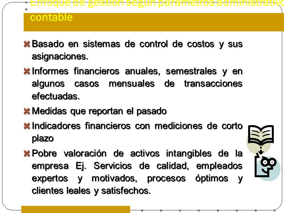 Enfoque de gestión según parámetros administrativo contable Basado en sistemas de control de costos y sus asignaciones. Basado en sistemas de control