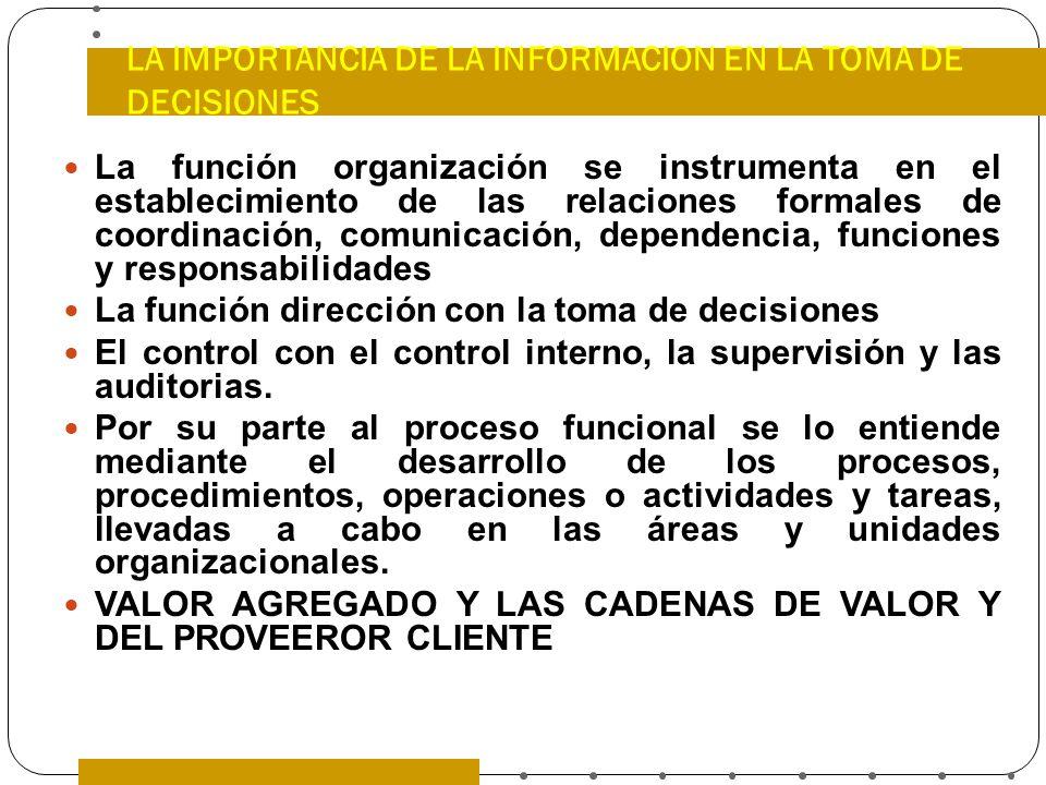 LA IMPORTANCIA DE LA INFORMACION EN LA TOMA DE DECISIONES La función organización se instrumenta en el establecimiento de las relaciones formales de c