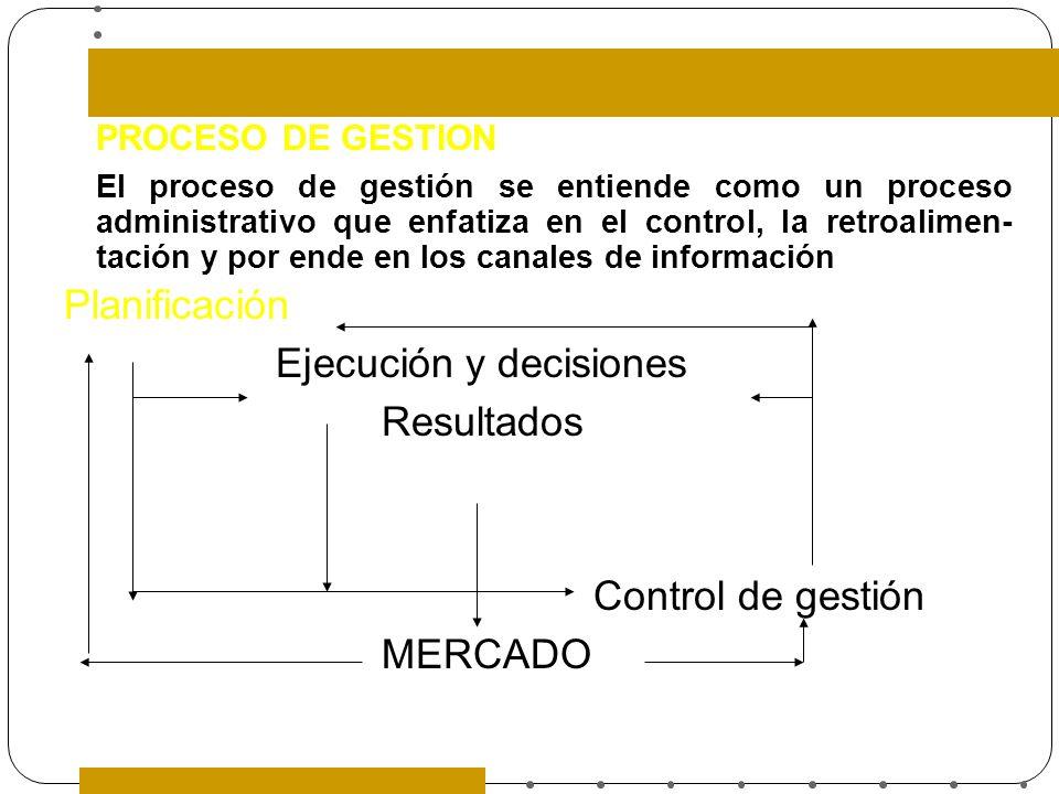 PROCESO DE GESTION El proceso de gestión se entiende como un proceso administrativo que enfatiza en el control, la retroalimen- tación y por ende en l