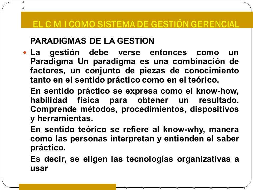 EL C M I COMO SISTEMA DE GESTIÓN GERENCIAL PARADIGMAS DE LA GESTION La gestión debe verse entonces como un Paradigma Un paradigma es una combinación d