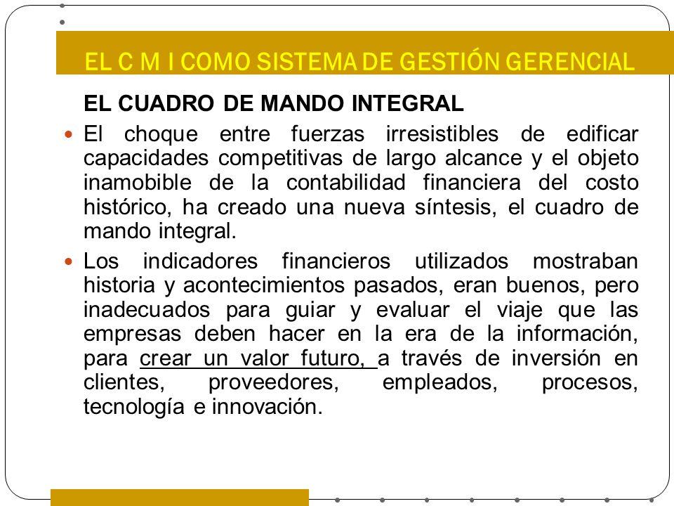 EL C M I COMO SISTEMA DE GESTIÓN GERENCIAL EL CUADRO DE MANDO INTEGRAL El choque entre fuerzas irresistibles de edificar capacidades competitivas de l