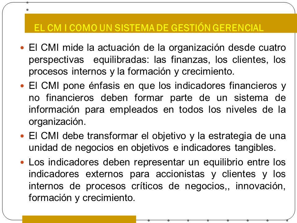 EL CM I COMO UN SISTEMA DE GESTIÓN GERENCIAL El CMI mide la actuación de la organización desde cuatro perspectivas equilibradas: las finanzas, los cli