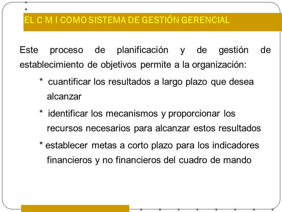 EL C M I COMO SISTEMA DE GESTIÓN GERENCIAL Este proceso de planificación y de gestión de establecimiento de objetivos permite a la organización: * cua