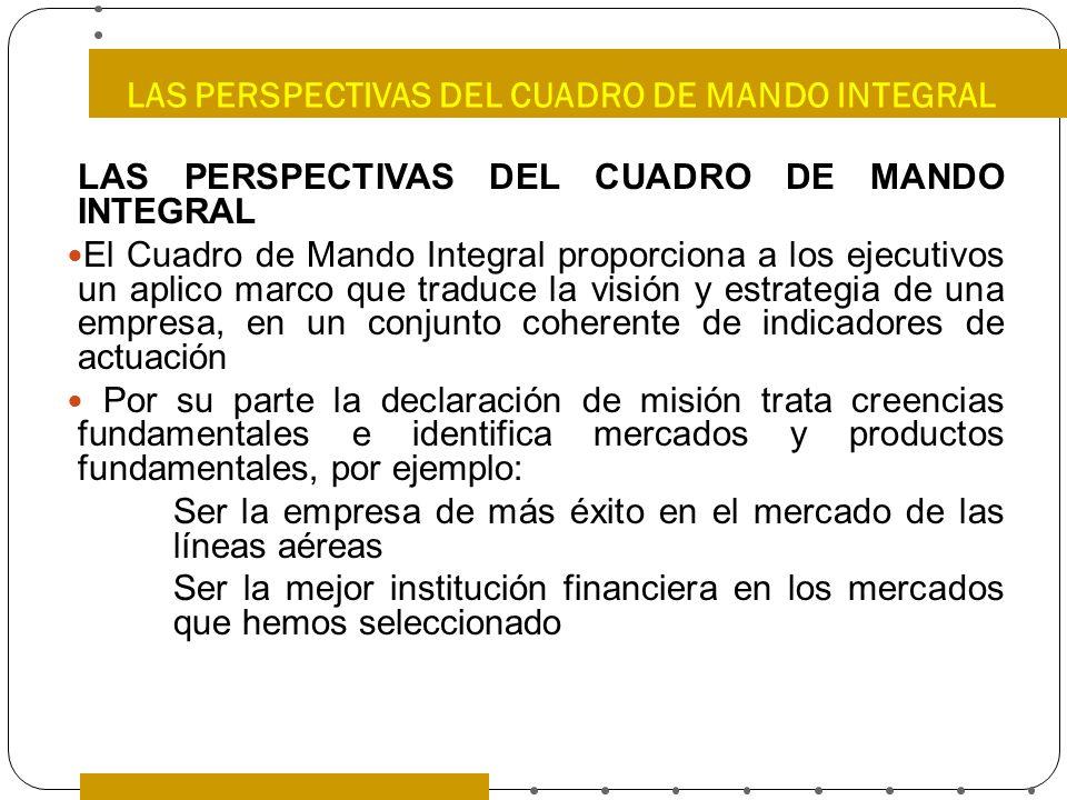 LAS PERSPECTIVAS DEL CUADRO DE MANDO INTEGRAL El Cuadro de Mando Integral proporciona a los ejecutivos un aplico marco que traduce la visión y estrate