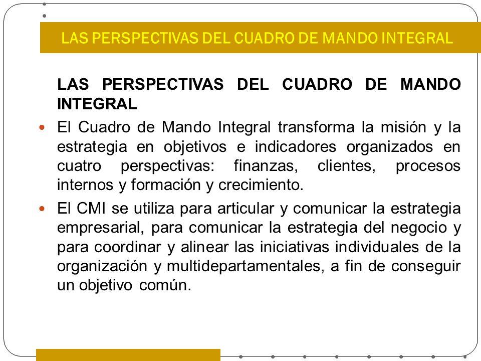 LAS PERSPECTIVAS DEL CUADRO DE MANDO INTEGRAL El Cuadro de Mando Integral transforma la misión y la estrategia en objetivos e indicadores organizados
