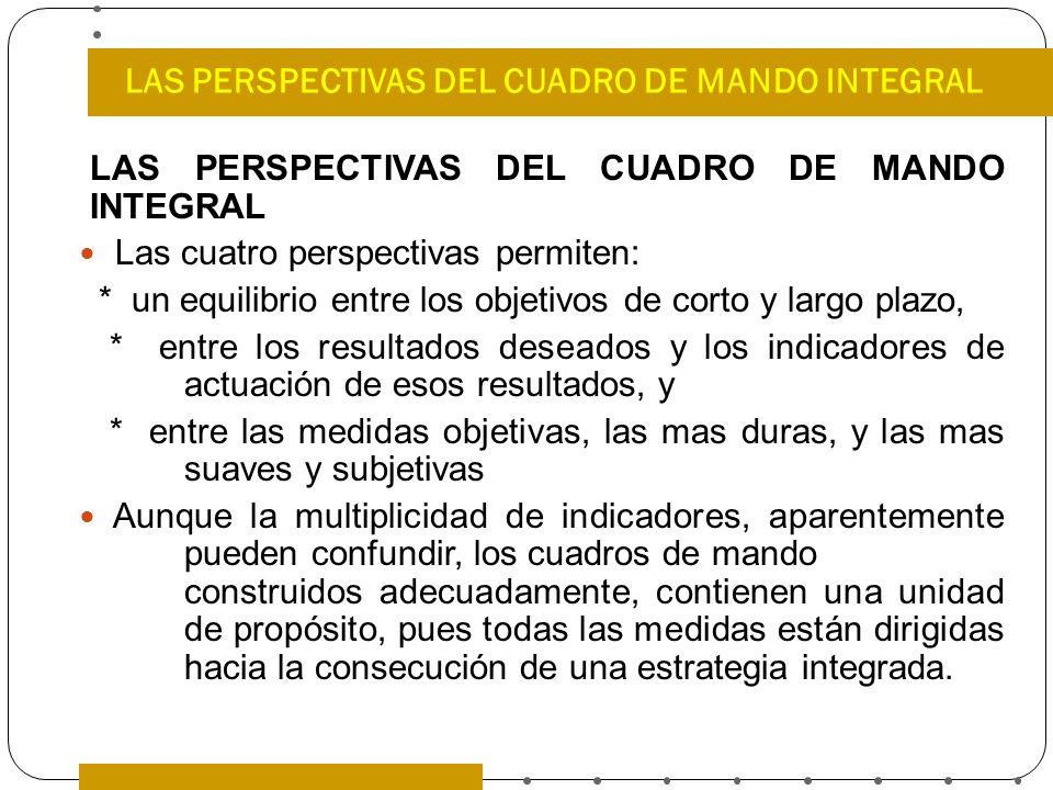 LAS PERSPECTIVAS DEL CUADRO DE MANDO INTEGRAL Las cuatro perspectivas permiten: * un equilibrio entre los objetivos de corto y largo plazo, * entre lo