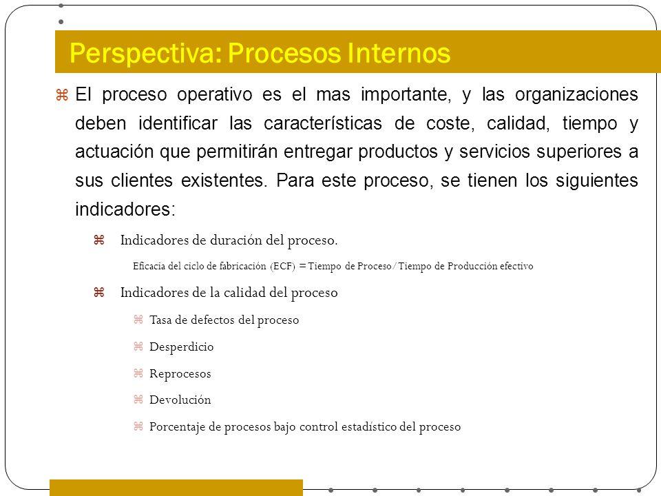 Perspectiva: Procesos Internos El proceso operativo es el mas importante, y las organizaciones deben identificar las características de coste, calidad