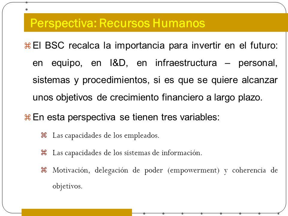 Perspectiva: Recursos Humanos El BSC recalca la importancia para invertir en el futuro: en equipo, en I&D, en infraestructura – personal, sistemas y p