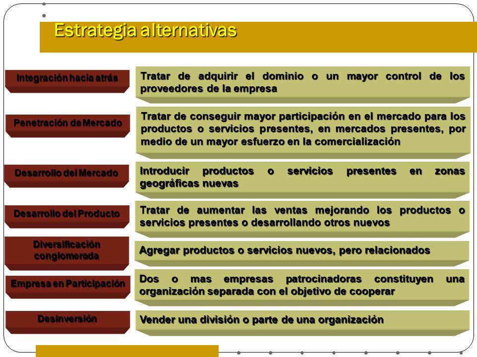 Estrategia alternativas Tratar de adquirir el dominio o un mayor control de los proveedores de la empresa Tratar de conseguir mayor participación en e