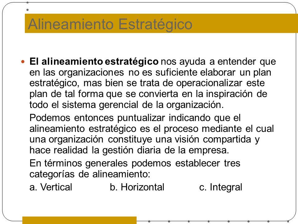 Alineamiento Estratégico El alineamiento estratégico nos ayuda a entender que en las organizaciones no es suficiente elaborar un plan estratégico, mas