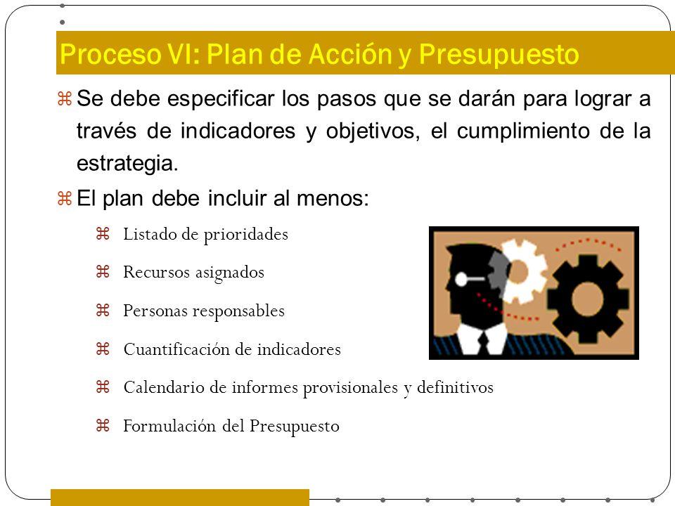 Proceso VI: Plan de Acción y Presupuesto Se debe especificar los pasos que se darán para lograr a través de indicadores y objetivos, el cumplimiento d
