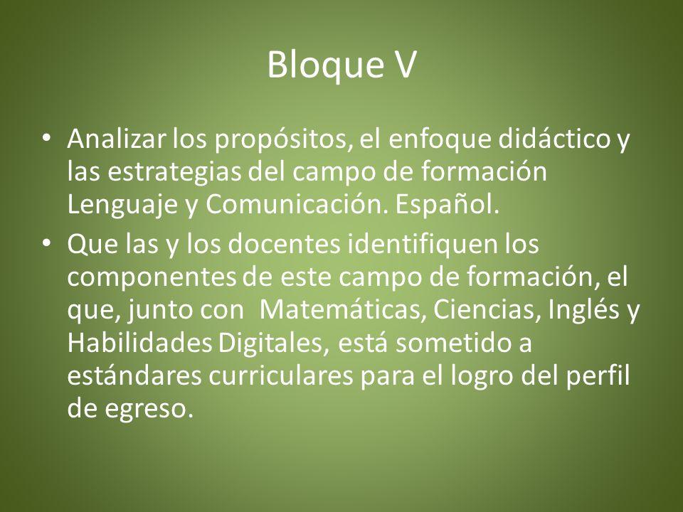 Propósitos -Analizar los propósitos y el enfoque didáctico del campo de formación Lenguaje y Comunicación: Español 2011 para identificar sus principales componentes.