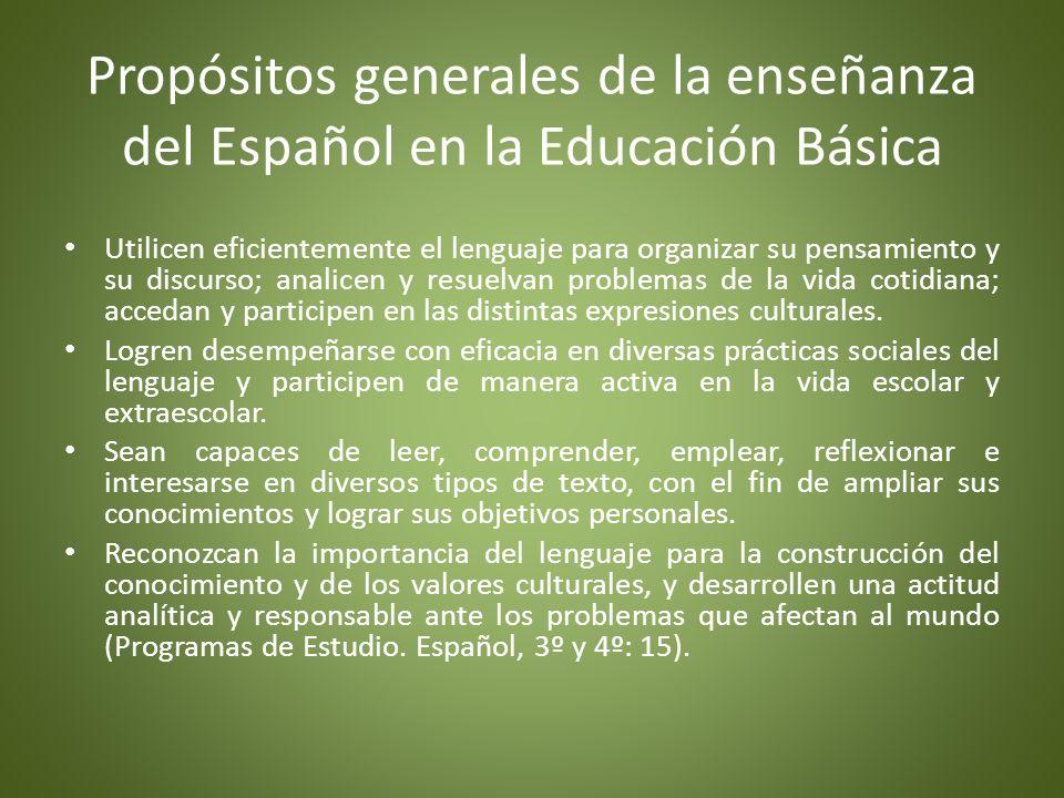 Propósitos que guían la enseñanza de Español en educación primaria Participen eficientemente en diversas situaciones de comunicación oral.
