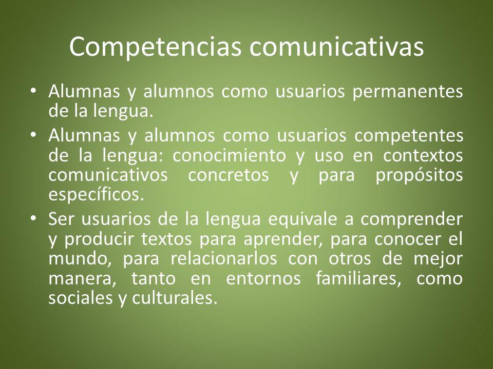 Competencia comunicativa La capacidad de una persona para comunicarse eficientemente, lo que incluye tanto el conocimiento del lenguaje como la habilidad para emplearlo, y son propias de la asignatura Español.