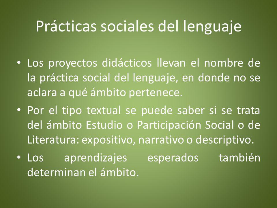 Prácticas sociales del lenguaje Por medio de proyectos didácticos las prácticas sociales del lenguaje adquieren sentido.