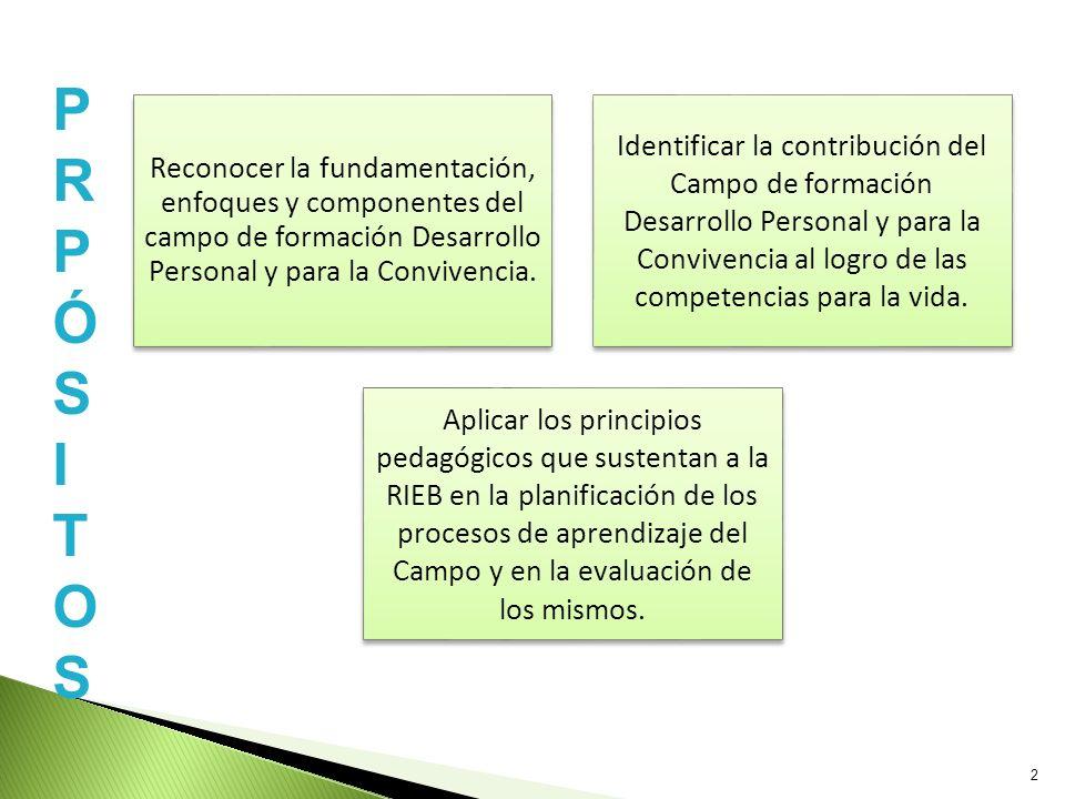 Reconocer la fundamentación, enfoques y componentes del campo de formación Desarrollo Personal y para la Convivencia. Identificar la contribución del