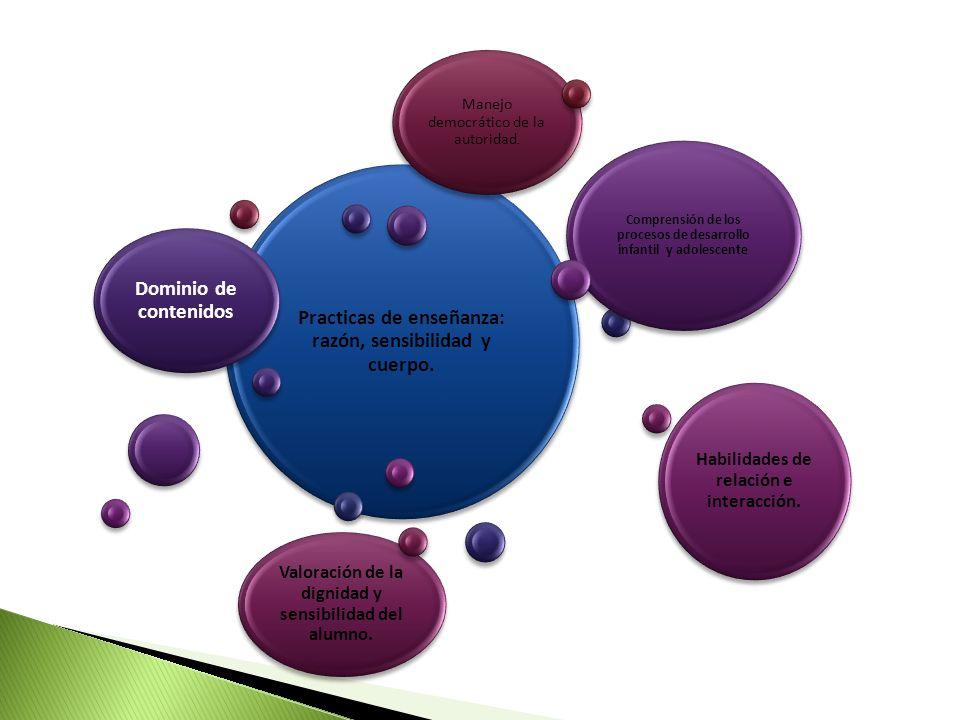 Practicas de enseñanza: razón, sensibilidad y cuerpo. Dominio de contenidos Comprensión de los procesos de desarrollo infantil y adolescente Habilidad
