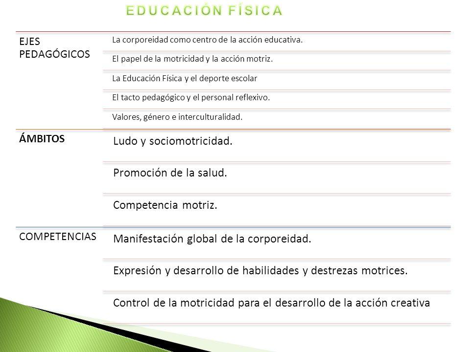 EJES PEDAGÓGICOS La corporeidad como centro de la acción educativa. El papel de la motricidad y la acción motriz. La Educación Física y el deporte esc