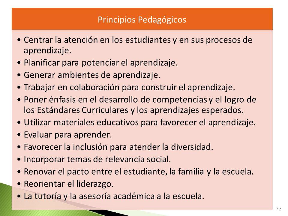 42 Principios Pedagógicos Centrar la atención en los estudiantes y en sus procesos de aprendizaje. Planificar para potenciar el aprendizaje. Generar a