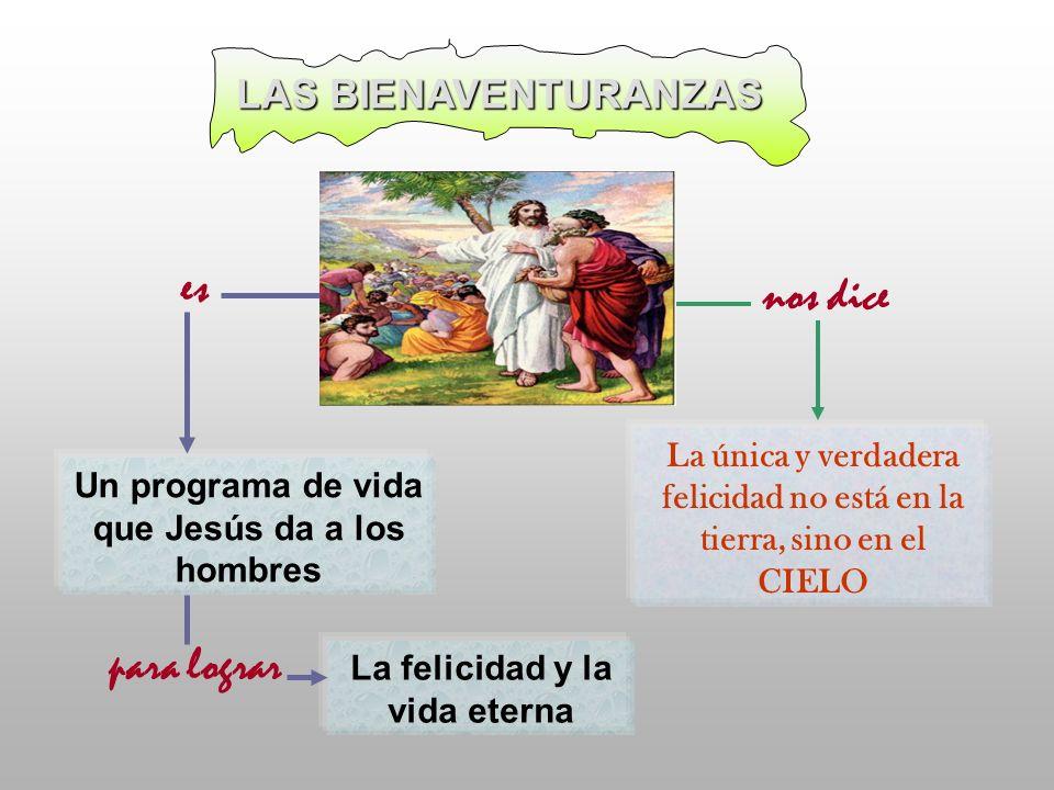 La única y verdadera felicidad no está en la tierra, sino en el CIELO LAS BIENAVENTURANZAS Un programa de vida que Jesús da a los hombres La felicidad
