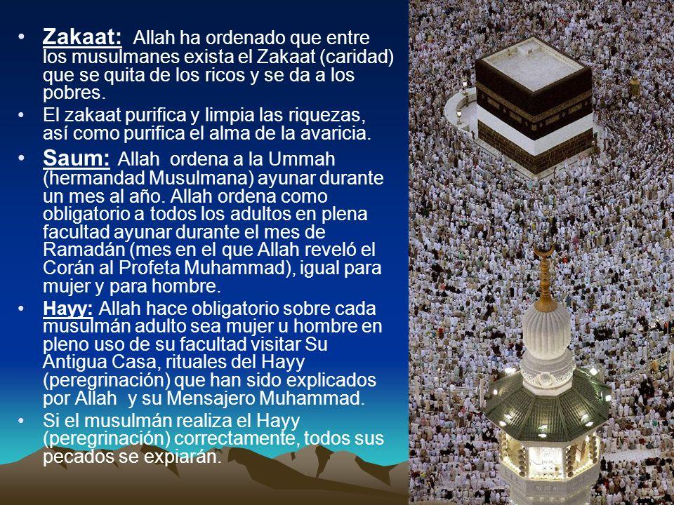 Zakaat: Allah ha ordenado que entre los musulmanes exista el Zakaat (caridad) que se quita de los ricos y se da a los pobres. El zakaat purifica y lim