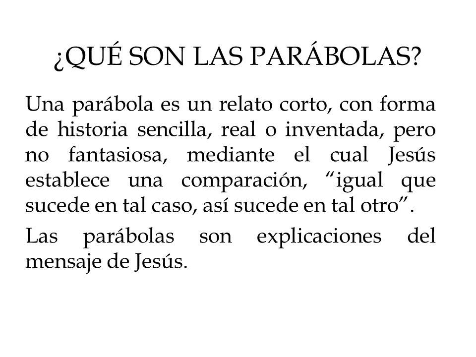 ¿QUÉ SON LAS PARÁBOLAS? Una parábola es un relato corto, con forma de historia sencilla, real o inventada, pero no fantasiosa, mediante el cual Jesús