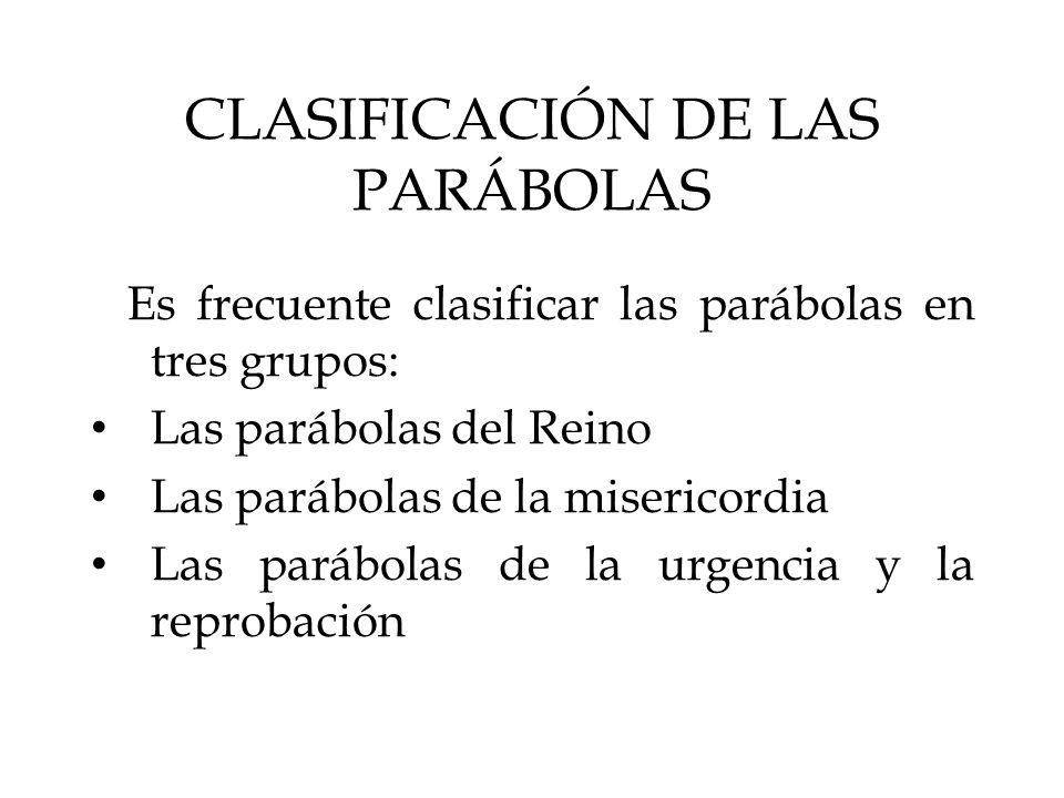 CLASIFICACIÓN DE LAS PARÁBOLAS Es frecuente clasificar las parábolas en tres grupos: Las parábolas del Reino Las parábolas de la misericordia Las pará